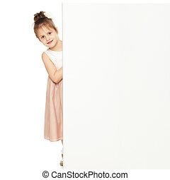 pequeno, banner., atrás de, olhadas, menina, saída