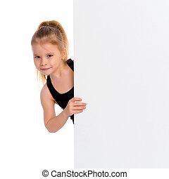pequeno, banner., olhar, menina, vazio