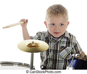 pequeno, baterista, closeup