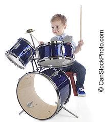 pequeno, baterista, menino