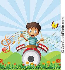 pequeno, baterista