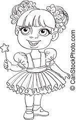 pequeno, batuta mágica, esboçado, balé, menina, tutu