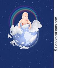 pequeno, bebê, globo, com, arco íris, ligado, céu azul, colagem