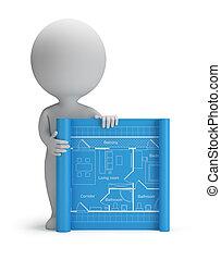 pequeno, blueprint, 3d, -, pessoas