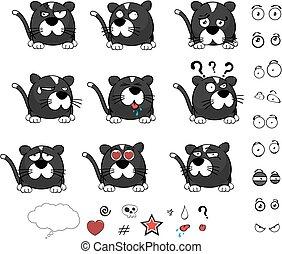 pequeno, bola, doce, gato, jogo, caricatura