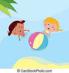 pequeno, bola, tocando, férias, mar, meninas, &, holiday: