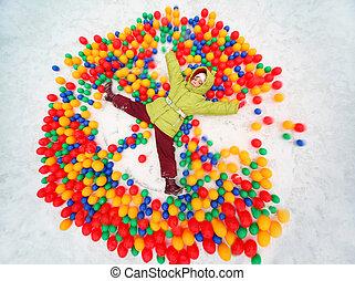 pequeno, bolas, colorido, neve, menina, tocando, mentindo,...