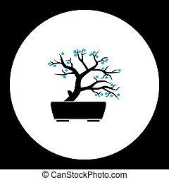 pequeno, bonsai, planta, com, flores azuis, silueta, ícone, eps10