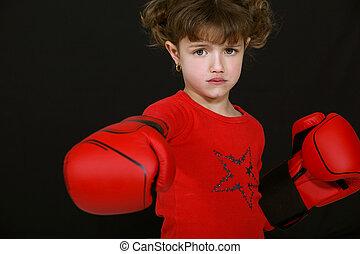 pequeno, boxe, menina