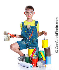 pequeno, boy., pintor