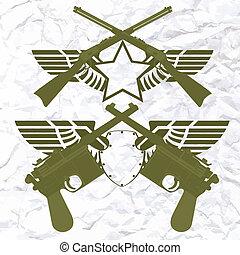 pequeno, braços, emblemas, asas