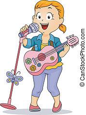 pequeno, brinquedo, executar, microfone, guitarra, usando, menina, criança