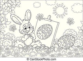 pequeno, bunny easter, pintor