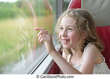 pequeno, bus., viajando, menina, feliz