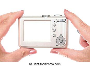 pequeno, câmera digital, ligado, mulher, mãos, com, espaço cópia