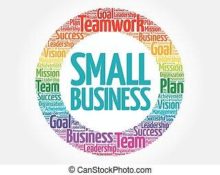 pequeno, círculo, palavra, negócio, nuvem