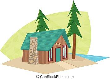 pequeno, cabana