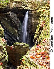 pequeno, cachoeira, em, um, estreito, gorge rochoso, em, a, carolina norte, montanhas, em, outono