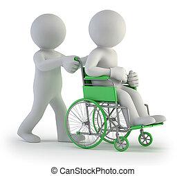 pequeno, cadeira rodas, 3d, -, pessoas