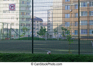 pequeno, campo, futebol