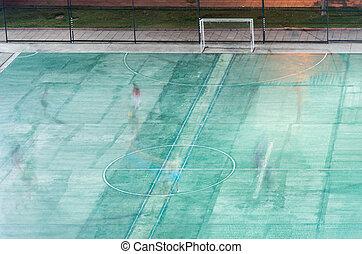 pequeno, campo, futebol, players., movimento