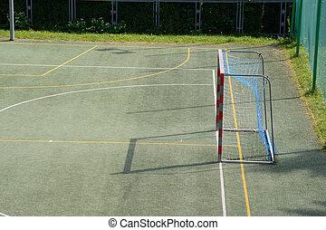 pequeno, campo, futebol, vazio, portão