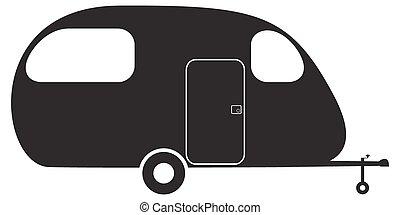 pequeno, caravana, silueta