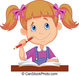 pequeno, caricatura, menina, estudar