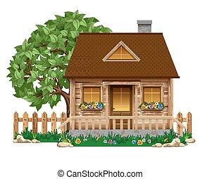 pequeno, casa madeira