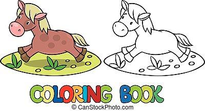 pequeno, cavalo, ou, pônei, tinja livro