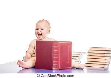 pequeno, cercado, livros, menina