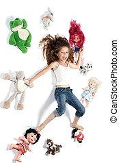 pequeno, cercado, rir, menina, brinquedos