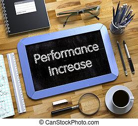 pequeno, chalkboard, com, desempenho, aumento, concept., 3d.