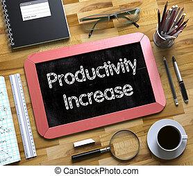 pequeno, chalkboard, com, produtividade, increase., 3d.