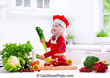 pequeno chefe cozinha, almoço, preparar, menina, chapéu