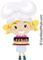 pequeno chefe cozinha, massa, segurando, bolo, menina
