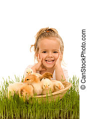 pequeno, cheio, galinhas, cesta, pequeno, menina