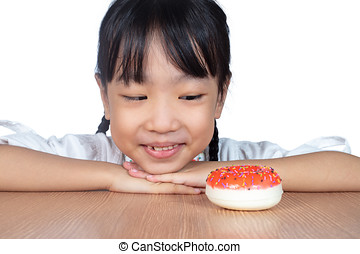 pequeno, chinês, donuts, asiático, querer, menina