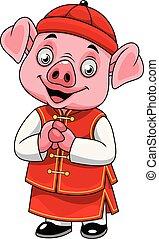 pequeno, chinês, porca, traje tradicional, caricatura, feliz