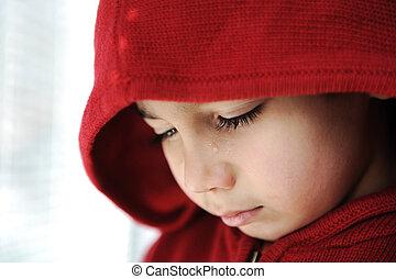 pequeno, chorando, criança