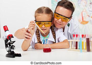 pequeno, ciência, jovem, professor, estudante, elementar, classe