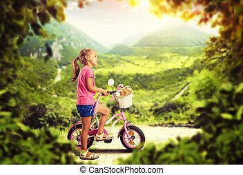 pequeno, ciclismo, menina