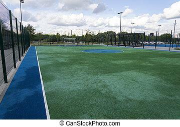 pequeno, cidade, park., campo futebol americano