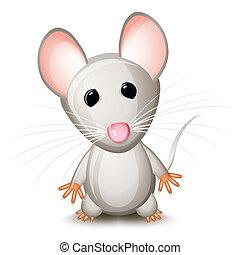pequeno, cinzento, rato
