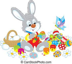 pequeno, coelhinho, tintas, ovos páscoa