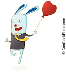 pequeno, coelho running, balloon