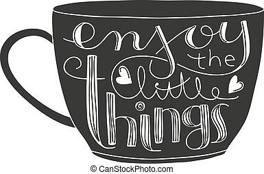 pequeno, coisas, lettering, apreciar