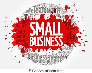 pequeno, colagem, palavra, negócio, nuvem