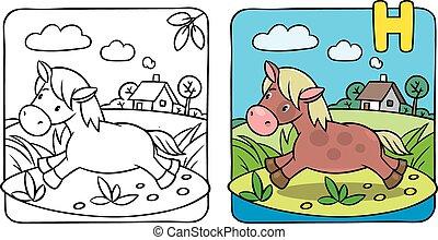 pequeno, coloração, pônei, alfabeto, cavalo, book., h, ou