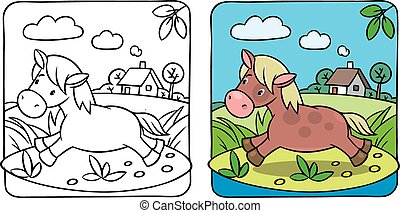 pequeno, coloração, pônei, cavalo, book., ou